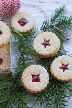 Linzer Cookies - Jenny is baking German Christmas Cookies, Holiday Cookies, Christmas Baking, Magical Christmas, Christmas Time, Linzer Cookies, Bread Cake, Sweet And Spicy, No Bake Cake