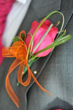 Groom's button hole - Pink rose with orange organza ribbon