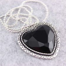 blog women black  beads Pendant Necklace heart shape silver color Jewellery