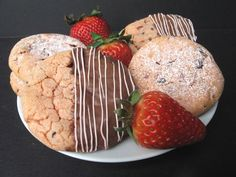 Chocolate Covered Strawberry Cookies- Send or give your Valentine Chocolate Covered Strawberries in cookie form!
