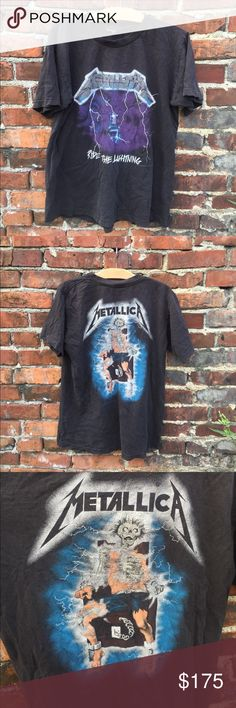 "*LOWER PRICE* VINTAGE rocked out Metallica t-shirt Awesome vintage Metallica 1994 t-shirt for giant. Ride the Lightning. VERY worn and perfectly loved!! Tiny holes (in front & back bottom), underarm & split neck collar detail. THIS SHIRT HAS SEEN SOME STUFF!! Nothing prim and proper about this vintage t! There is no size tag- I'm calling it a medium- 26"" from collar to bottom back & see photo for chest measurements giant Tops Tees - Short Sleeve Metallica T Shirt, Ride The Lightning, Vintage Rock, Neck Collar, Fashion Tips, Fashion Design, Fashion Trends, Underarm, Tees"