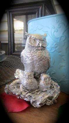 Upcycled Silver Owl Figurine