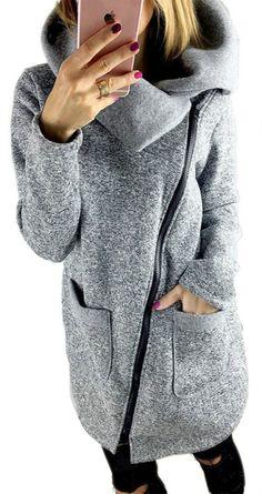 Women's Heathered Oblique Zip Pillow Collar Coat