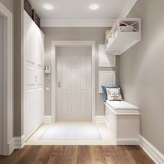 modern corridor design with concrete floor and indirect . modern corridor design with concrete flo Home Design, Flur Design, Design Ideas, Style At Home, White Hallway, Modern Hall, Interior Decorating, Interior Design, Room Colors