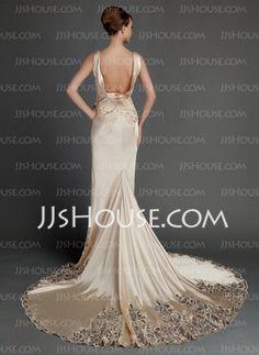 Sheath/Column Chapel Train Charmeuse Wedding Dress With Lace (002015727) - JJsHouse Champagne