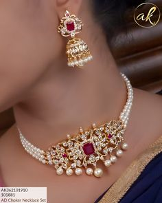 floor above hotel Srinidhi sagar main road Vijaynagar Bangalore India. Pearl Necklace Designs, Jewelry Design Earrings, Gold Earrings Designs, Gold Jewellery Design, 1 Gram Gold Jewellery, Temple Jewellery, Pearl Jewelry, Gold Jewelry Simple, Schmuck Design