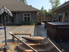 Stamped concrete wall and patio by Sierra Concrete Arts. Concrete Patios, Concrete Art, Stamped Concrete, Deck, Outdoor Decor, Wall, Home Decor, Decoration Home, Room Decor