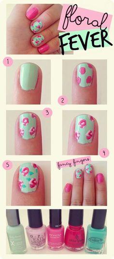 DIY Floral Nails colorful nails nail art summer nails diy nails nail designs manicures spring nails nail tutorials