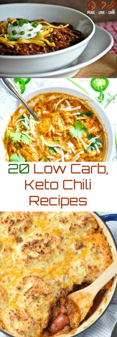 20 Low Carb Keto Chili Recipes | Peace Love and Low Carb via @PeaceLoveLoCarb