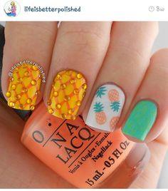 Aqua, Orange and Pineapple Nail Art
