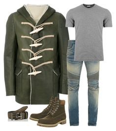 """""""Olive Shearling Peacoat #Winter17"""" by mh3914rp on Polyvore featuring Rick Owens, Timberland, Balmain, Dolce&Gabbana, Fendi, men's fashion and menswear"""