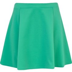 River Island Green skater skirt (17 CAD) ❤ liked on Polyvore featuring skirts, bottoms, green, sale, green skirt, river island, skater skirts, circle skirt and green circle skirt