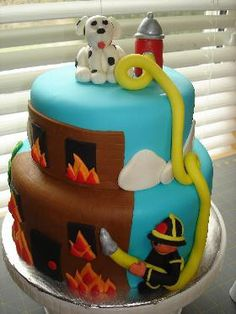 Cool Fire Man Cake. Blake's Birthday?  this is a really cool cake
