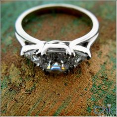 Royal Asscher with Triangle high quality cubic zirconia anniversary ring white gold. Past present future! Cubic Zirconia Engagement Rings, Asscher Cut, Three Stone Rings, Anniversary Rings, Triangle, White Gold, Future, Future Tense