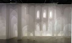 Cairo art installation explores soul of architecture - Visual Art - Arts & Culture Projection Installation, Fabric Installation, Installation Architecture, Interactive Installation, Art Installations, Projection Screen, Layered Architecture, Instalation Art, Co Working
