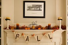 Fall Mantel decorations - I like this! Keeping it so I can copy!