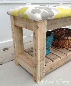 DIY Pallet Upholstered Bench, MyLove2Create