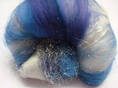 hand dyed, drum carded fiber for spinning yarn