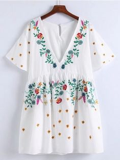 Bell Sleeve Flower Embroidery Dress | WithChic