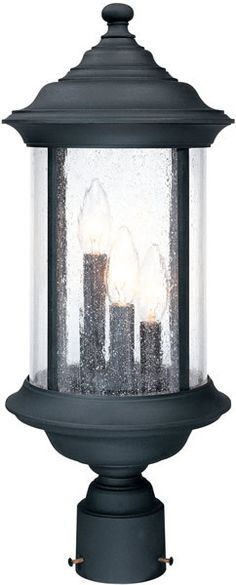 "0-027456>21""""h Walnut Grove 3-Light Outdoor Post Lantern Black"
