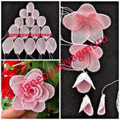 No photo description available. Needle Tatting, Needle Lace, Bobbin Lace, Ribbon Embroidery, Embroidery Stitches, Embroidery Patterns, Crochet Patterns, Diy Flowers, Beaded Flowers