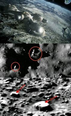 The photographs taken by the Chinese of bases seen on the moon.