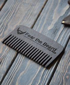 Fear the beard comb. Walnut Wenge Personalized by EnjoyTheWood