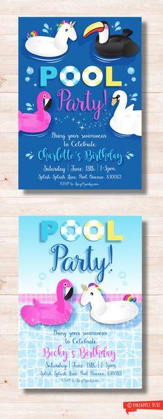 Unicorn pool party invitation   Swim party invitation   Pool party birthday invite   Swimming party invitation   Flamingo party invitation