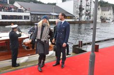 Crown Prince Haakon and Crown Princess Mette-Marit arrive in Flekkefjord at the start of their three day tour of the county of Vest Agder
