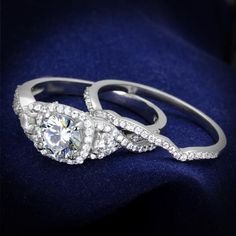 A Perfect 1.7CT Round Cut Halo Russian Lab Diamond Wedding Bridal Band Ring