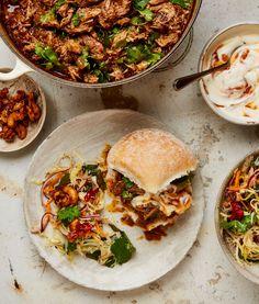Yotam Ottolenghi's recipes for a summer al fresco feast: Spicy Pulled Pork Vindaloo Yotam Ottolenghi, Ottolenghi Recipes, Pork Curry Recipe, Curry Recipes, Vegetarian Recipes, Cooking Recipes, Healthy Recipes, Cooking Courses, Savoury Recipes