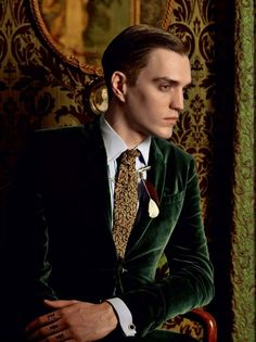 "Swanky forest green velvet blazer. Noice. ""Golden Age"" for GQ  Russia #134, shot by Kevin Mackintosh"