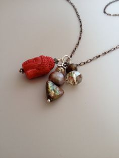 Red Buddhal Necklace - Red and Pearl Necklace - Long Necklace -...