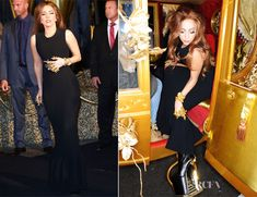 Lady Gaga in Azzedine Alaïa dress, with her custom Brian Atwood booties. Luv her spiked-metal hand things :P