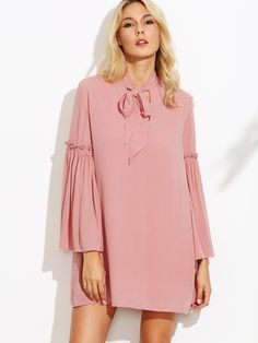Pink Tie Neck Frill Bell Sleeve Tunic Dress — 0.00 € ------------color: Pink size: XS