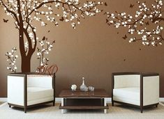 Cherry Blossom Wall Decal, Nursery Wall Decal, Cherry Tree Wall Decal with butterfly, Wall The large blossom Tree is high by wide, and the corner tree branch is wide by high. The decals can be reversed/mirrored. Just mention it in the message to Tree Wall Painting, Simple Wall Paintings, Tree Wall Art, Mural Wall Art, Baby Wall Decals, Wall Stickers Home Decor, Vinyl Wall Decals, Wall Decor, Room Decor