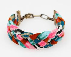 Braided Fabric Bracelet in Mint and Hot Pink by thiefandbandit, $20.00