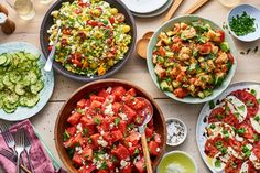 Every Single Summer Salad Recipe You'll Ever Need - Recipes to Cook - Salat Rezepte Feta Tomato Salad, Cucumber Salad, Best Summer Salads, Summer Salad Recipes, Summer Food, Summertime Salads, Summer Bbq, Israeli Couscous Salad, Lentil Salad