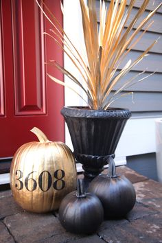 House number on a pumpkin