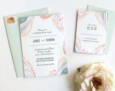 Watercolor Wedding Invitation Boho Wedding Invitation Beach