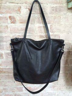 Large black leather Hobo Bag Leather Laptop bag  Black by sord