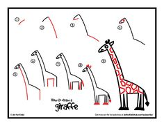 Crazy simple step by step instructions on how to draw a giraffe, perfect for kids. Watch our short YouTube video, and download our free printable.