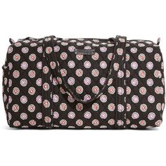Vera Bradley Small Duffel Travel Bag in Parisian Pom Poms ($68) ❤ liked on Polyvore featuring bags, luggage, parisian pom poms, sale and travel