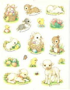 VTG 80s Hallmark Easter Stickers - BABY BUNNIES - LAMBS - CHICKS (1982)