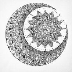 Moon mandala (tattoo n art inspo) Mais Mandala Art, Mandala Design, Mandalas Drawing, Mandala Coloring Pages, Dotwork Tattoo Mandala, Mandala Flower Tattoos, Flower Tattoo Designs, Flower Mandala, Mandala Tattoo Design