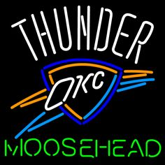 Moosehead Oklahoma City Thunder NBA Neon Beer Sign, Moosehead with NBA Neon Signs | Beer with Sports Signs. Makes a great gift. High impact, eye catching, real glass tube neon sign. In stock. Ships in 5 days or less. Brand New Indoor Neon Sign. Neon Tube thickness is 9MM. All Neon Signs have 1 year warranty and 0% breakage guarantee.