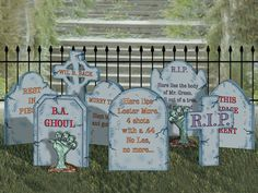 I think I could still get this done in time for Halloween! The create-a-graveyard yard art pattern includes eight different style headstones Halloween Tombstone Sayings, Halloween Graveyard, Halloween Tombstones, Halloween Quotes, Halloween Boo, Holidays Halloween, Tombstone Quotes, Michaels Halloween, Cheap Halloween