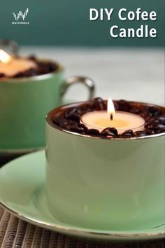 If you love the smell of coffee, get your room to smell like coffee all day!First, gather a cup off of coffee beans. Then put a vanilla scented candle inside of the cup. The flame of the candle will warm the coffee beans and make the room smell like coffee