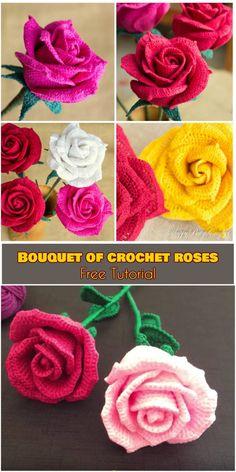 Crochet Puff Flower Bouquet of Crochet Roses [Free Tutorial] Bouquet Crochet, Roses Au Crochet, Crochet Puff Flower, Knitted Flowers, Crochet Flower Patterns, Love Crochet, Crochet Gifts, Beautiful Crochet, Easy Crochet