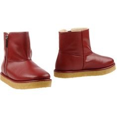 Stella Mccartney Ankle Boots ($192) ❤ liked on Polyvore featuring shoes, boots, ankle booties, maroon, short boots, wedge heel boots, wedge ankle booties, round toe ankle boots and ankle boots